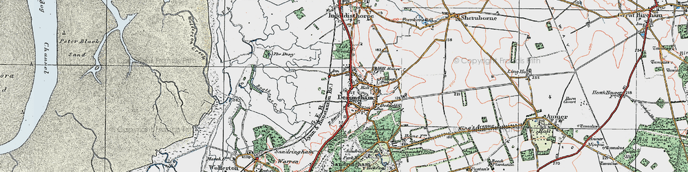 Old map of Dersingham in 1922