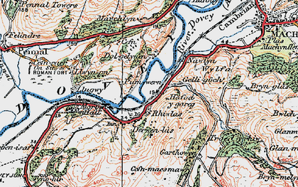 Old map of Derwenlas in 1921