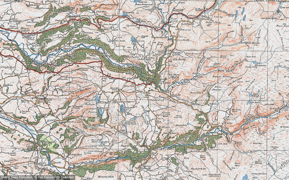 Old Map of Historic Map covering Banc y Bont in 1922