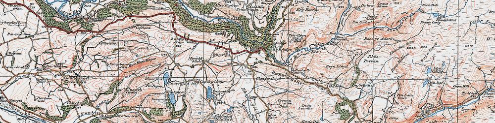 Old map of Devil's Bridge in 1922
