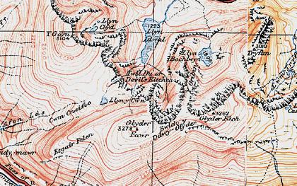 Old map of Y Gribin in 1922