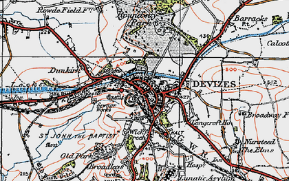 Old map of Devizes in 1919