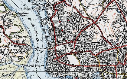 Old map of Devonport in 1919