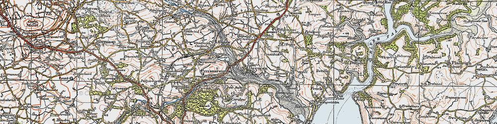 Old map of Devoran in 1919