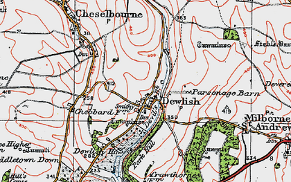 Old map of Whitelands Downs in 1919
