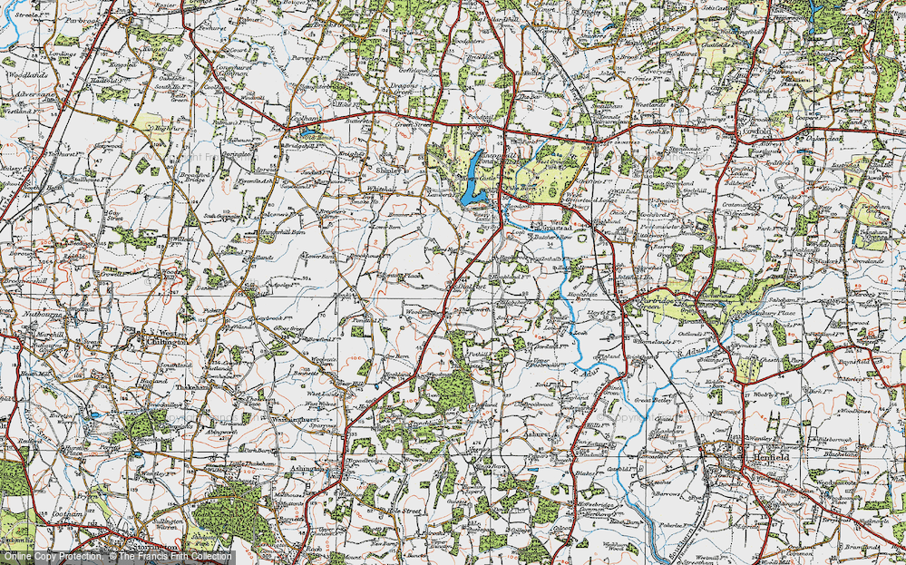 Old Map of Historic Map covering Woodmans Stud in 1920