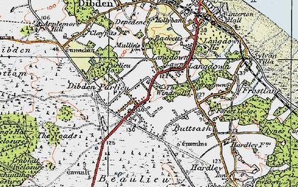 Old map of Dibden Purlieu in 1919