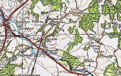 Old map of Digswell in 1920