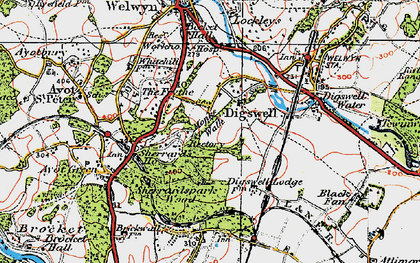 Old map of Digswell Park in 1920