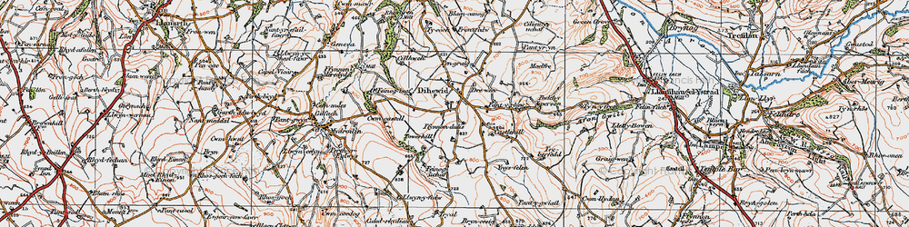 Old map of Afon Feinog in 1923