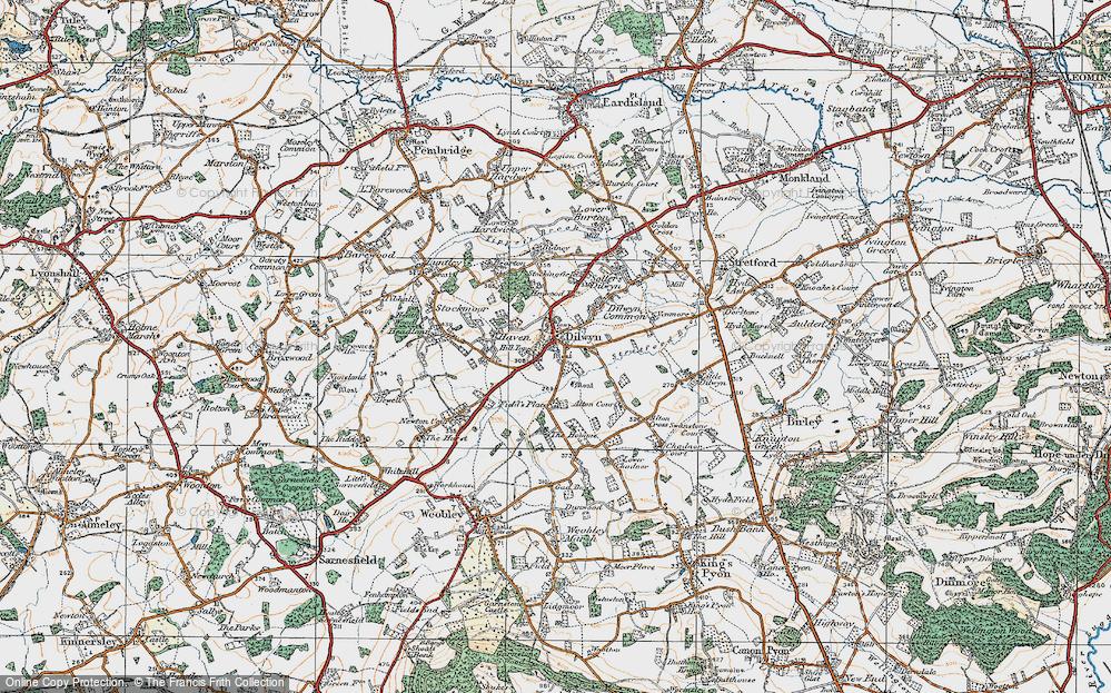 Old Map of Dilwyn, 1920 in 1920