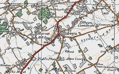 Old map of Dilwyn in 1920