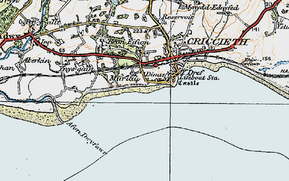 Old map of Dinas in 1922