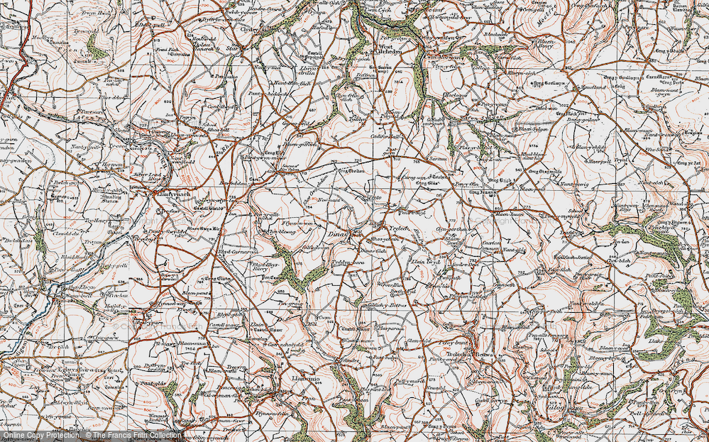 Old Map of Historic Map covering Afon Cynin in 1922