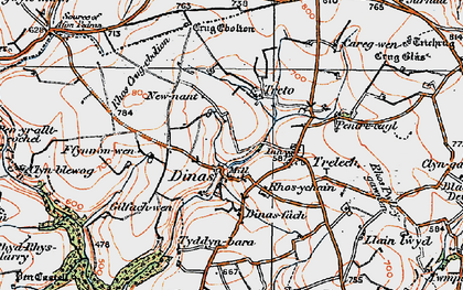 Old map of Afon Cynin in 1922