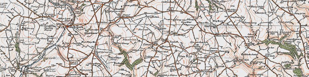 Old map of Afon Cynin in 1922