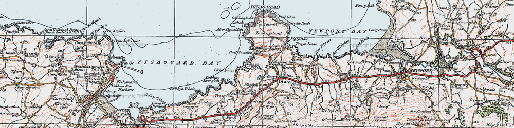 Old map of Aber Pensidam in 1923