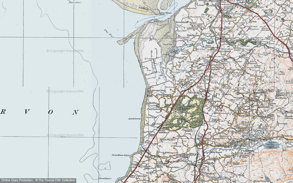 Old Map of Dinas Dinlle, 1922 in 1922