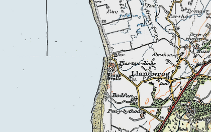Old map of Dinas Dinlle in 1922