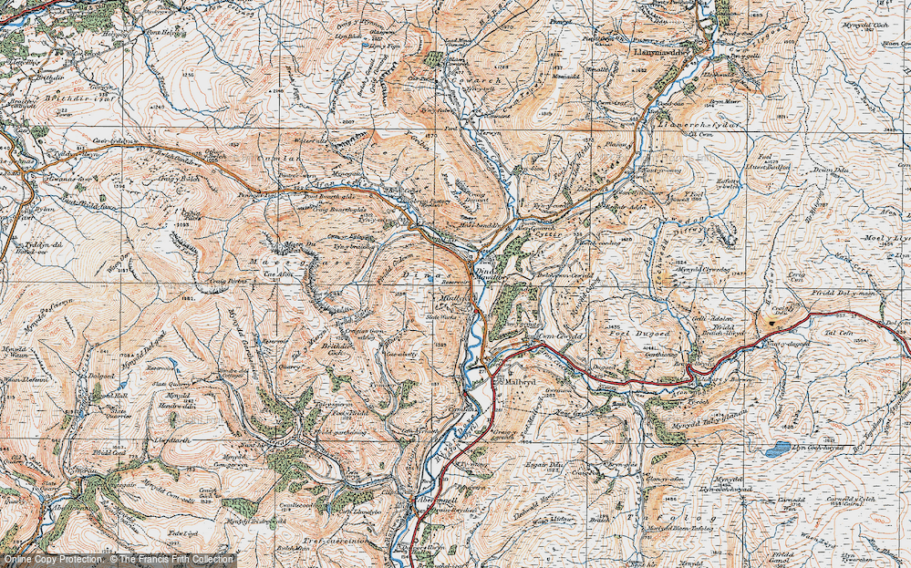 Old Map of Historic Map covering Afon Cerist in 1921