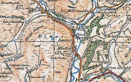 Old map of Afon Cerist in 1921