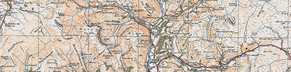 Old map of Dinas-Mawddwy in 1921