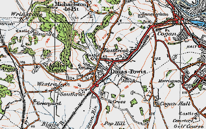 Old map of Dinas Powis in 1919
