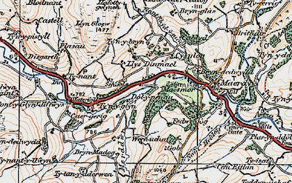 Old map of Rhôs-cae'r-ceiliog in 1922