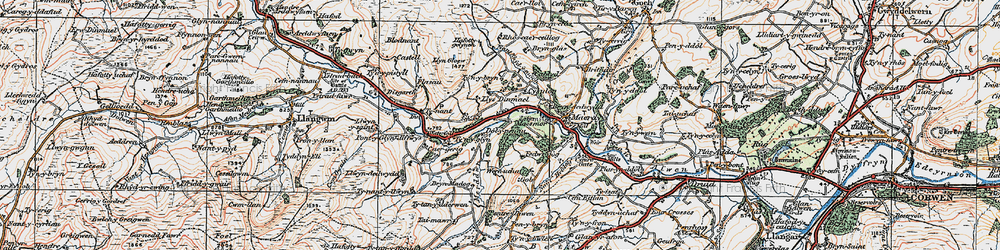 Old map of Dinmael in 1922