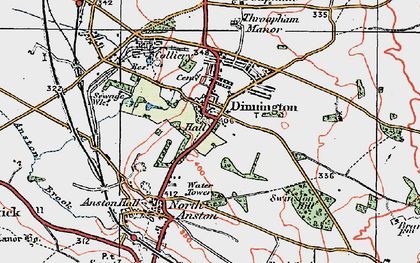 Old map of Dinnington in 1923