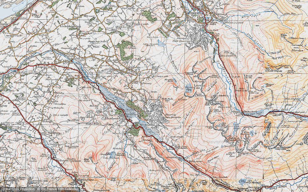 Old Map of Historic Map covering Afon Dudodyn in 1922