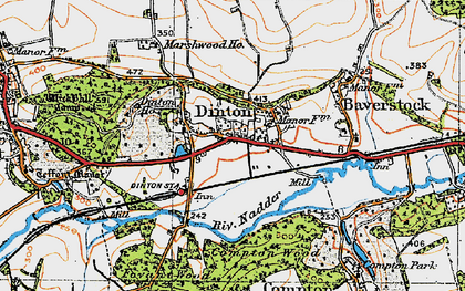Old map of Dinton in 1919
