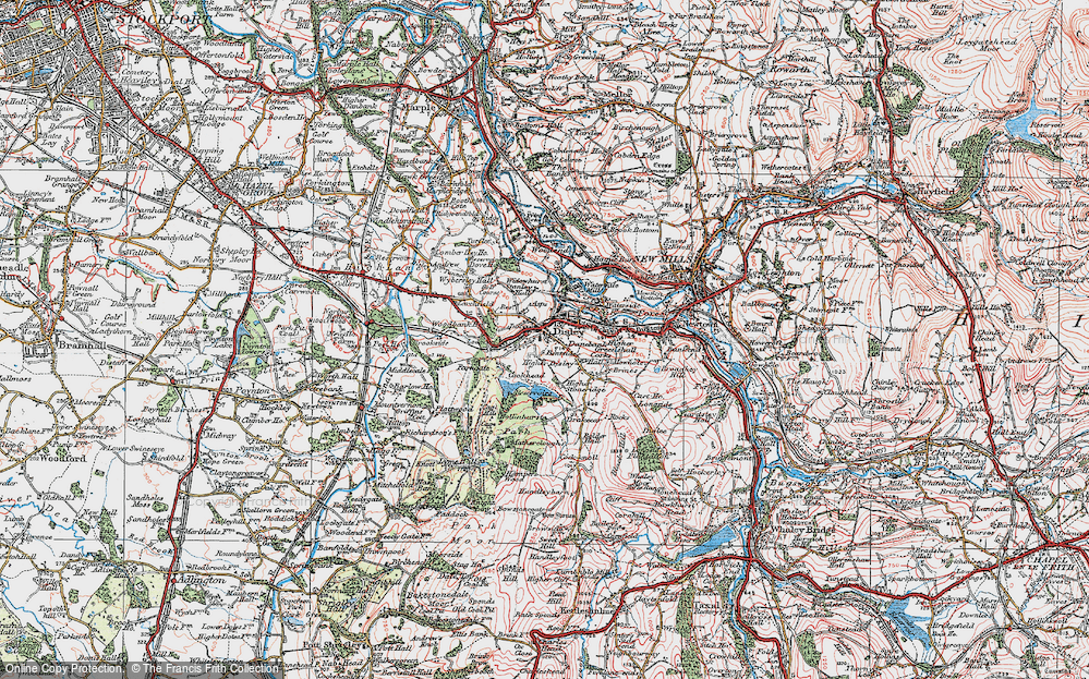 Old Map of Disley, 1923 in 1923
