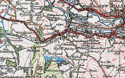 Old map of Disley in 1923