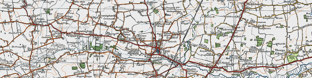 Old map of Diss in 1921