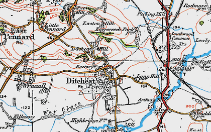 Old map of Ditcheat in 1919