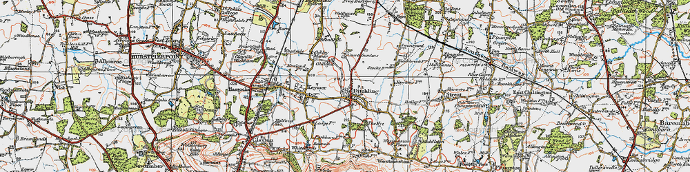 Old map of Ditchling in 1920