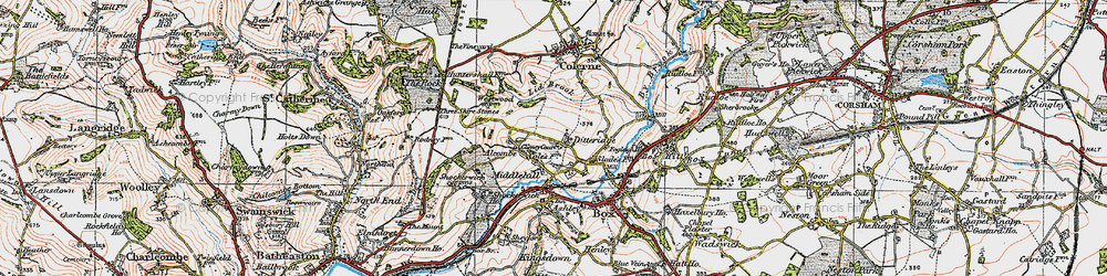 Old map of Ditteridge in 1919