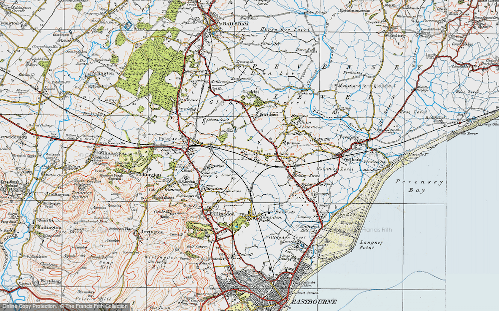 Old Map of Historic Map covering 1066 Country Walk in 1920