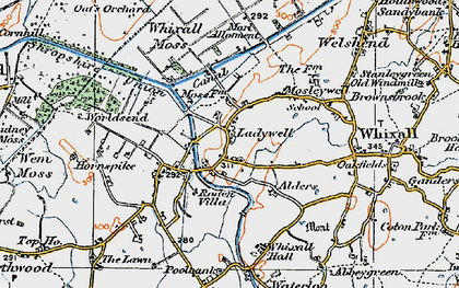 Old map of Whixall Moss in 1921