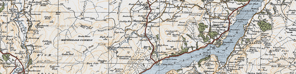 Old map of Aira Force in 1925