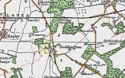 Old map of Doddington in 1923