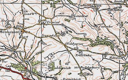 Old map of Doddycross in 1919