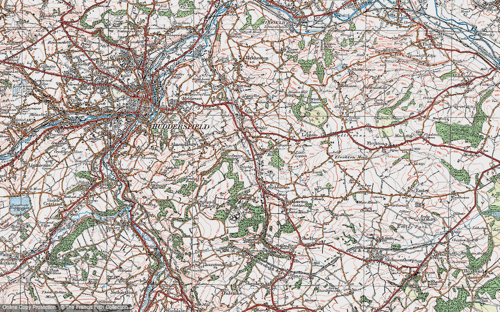 Old Map of Historic Map covering Almondbury Common in 1925