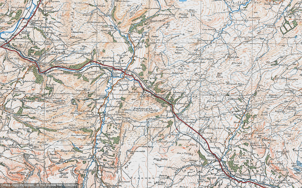 Old Map of Historic Map covering Afon Iaen in 1921
