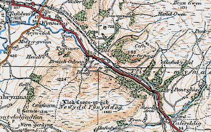 Old map of Afon Iaen in 1921