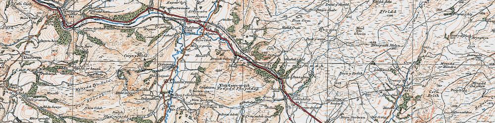 Old map of Afon Iaen in 1921