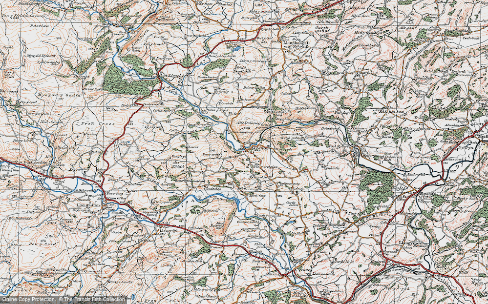 Old Map of Historic Map covering Allt Dolanog in 1921