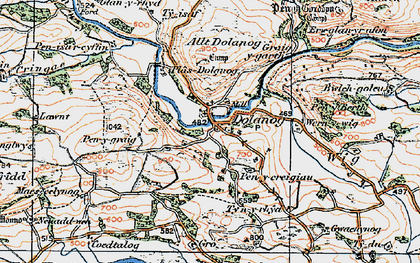 Old map of Allt Dolanog in 1921