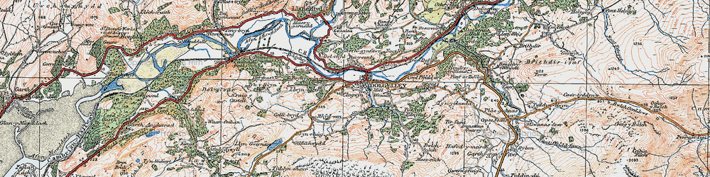Old map of Dolgellau in 1921